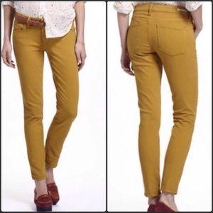 Pilcro Mustard Yellow Stet Skinny Jeans Anthro 29